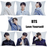 7 styles 1PC 45*45CM Fashion Love Yourself K-pop Fans Army Throw BTS Pillow Case Bangtan Boys pillow cover Housse de coussin