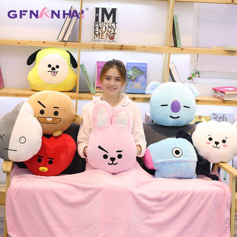 30*38CM Kpop Home Bangtan boys BTS bt21 vapp Plush Toy 3 in 1 Hand Warmer With Blanket Cushion TATA VAN COOKY CHIMMY SHOOKY KOYA
