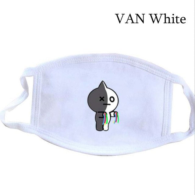 1 Pc New Cute BTS BT21 Bangtan Boys Kpop The Same Paragraph Cartoon Mouth Mask Warm Student Winter Face Mask Outdoor Accessories