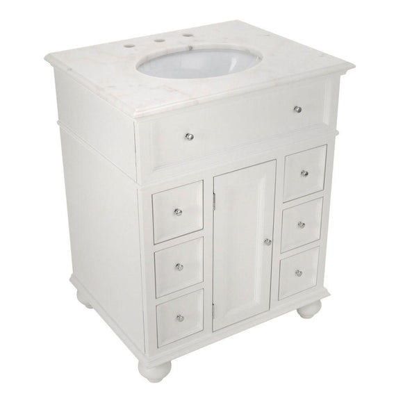 Home Decorators Collection Hampton Harbor 28 in. W x 22 in. D Bath Vanity in White with Natural Marble Vanity Top in White