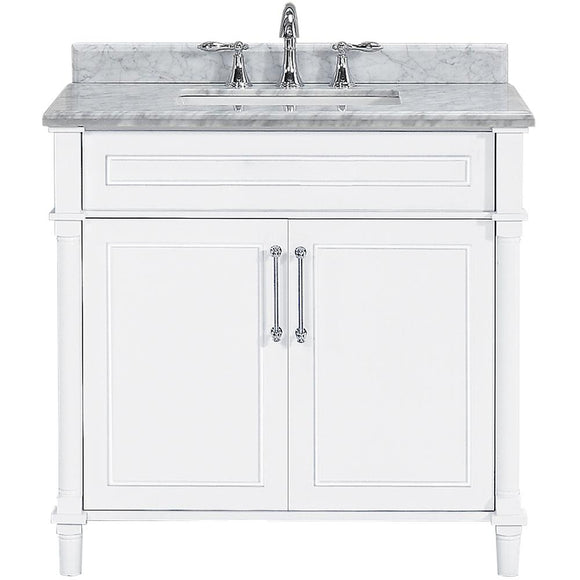 Home Decorators Collection Aberdeen 36 in. W x 22 in. D Single Bath Vanity in White with Carrara Marble Top with White Basin
