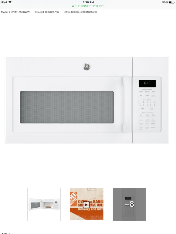 GE 1.7 cu. ft. Over the Range Microwave with Sensor Cooking in White
