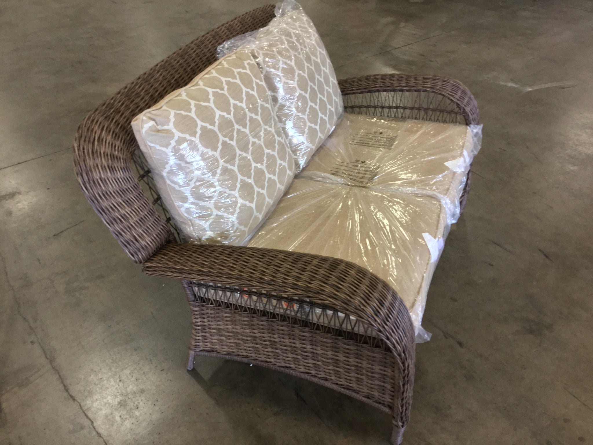 Excellent Hampton Bay Beacon Park Wicker Outdoor Loveseat With Toffee Forskolin Free Trial Chair Design Images Forskolin Free Trialorg