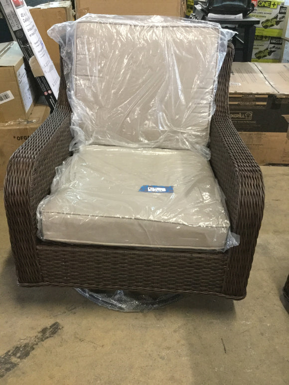 Liva Springs Tropical All-Wicker Outdoor Patio Swivel Rocker with Beige Cushions