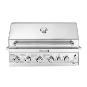 KitchenAid 4-Burner Built-in Propane Gas Island Grill Head in Stainless Steel with Searing Main Burner and Rotisserie Burner