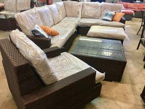 Liva Springs Grandeur All-Wicker 7-Piece Outdoor Patio Sectional Set with Coffee Table and Footrest with Beige Cushions