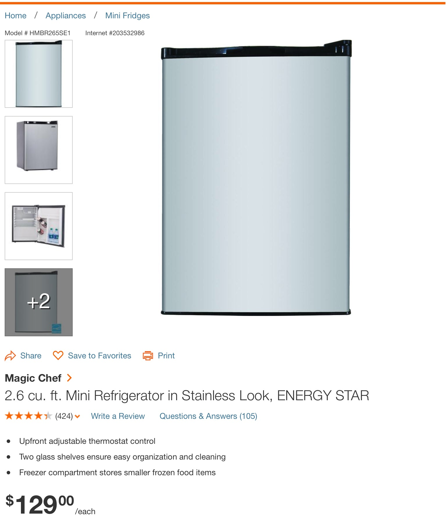 Magic Chef 2.6 cu ft ENERGY STAR Mini Refrigerator in Stainless Look
