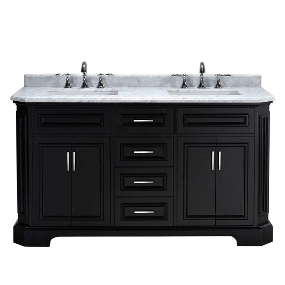 Pegasus Bristol 60 in. Vanity in Black with Marble Vanity Top in Carrara White