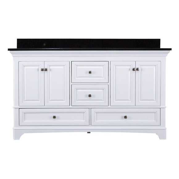 Home Decorators Collection Moorpark 61 in. W x 22 in. D Double Bath Vanity in White with Granite Vanity Top in Black