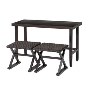 Fine Hampton Bay Woodbury 3 Piece Wicker Outdoor Patio Console Ncnpc Chair Design For Home Ncnpcorg
