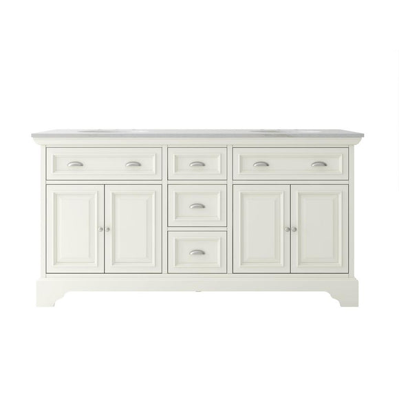 Sadie 67 in. W x 21.5 in. D Vanity in Dove White  with Marble Vanity Top in Natural White with White Basins