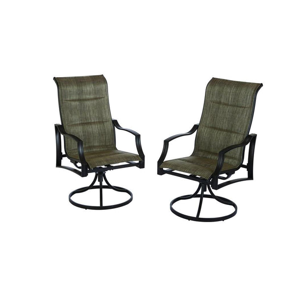 Hampton Bay Statesville Padded Sling Swivel Patio Dining Chair (2-Pack)