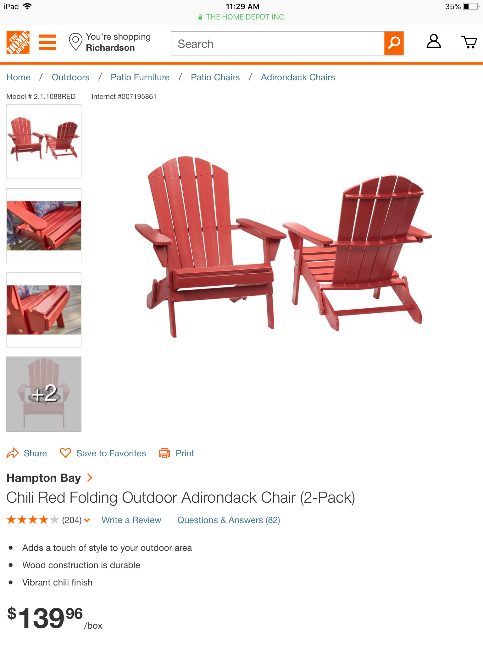 Cool Hampton Bay Chili Red Folding Outdoor Adirondack Chair 2 Gmtry Best Dining Table And Chair Ideas Images Gmtryco