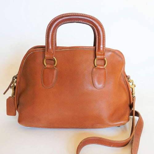 Unisex Vintage COACH Baxter Bag British Tan Leather Work Satchel / Doctor Bag *RARE*