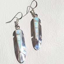 Load image into Gallery viewer, Opal Sterling Silver Zuni Feather