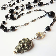 Load image into Gallery viewer, Pyrite II Skull Rosary Style Skull Necklace