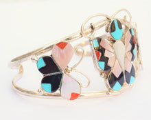 Load image into Gallery viewer, Zuni Handmade Sterling Silver Turquoise Butterfly Bracelet