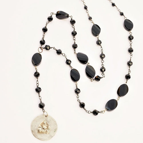 Buddha Medallion Rosary Style  Necklace