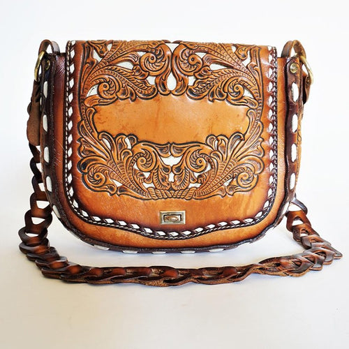 Stunning Miss Tony Lama Vintage Hand Tooled Genuine Leather Purse *Rare*