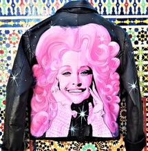 Load image into Gallery viewer, Dolly Parton Hand Painted Custom Jacket Sz M