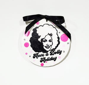 Dolly Parton Hand-Painted Leather Ornament