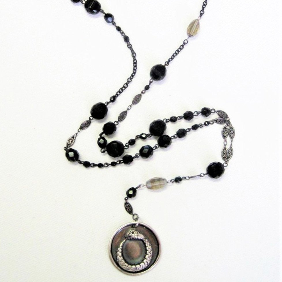 Ouroboros I Rosary Style Medallion Necklace