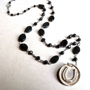 Get Lucky Rosary Style Horseshoe Necklace