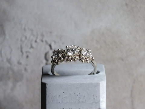 Unique diamond Granulation engagement ring