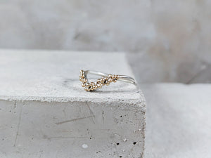 Granulation Wishbone Ring | Sterling Silver with Gold granulation - Milly Maunder Designs