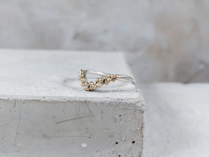 Granulation Wishbone Ring | Sterling Silver with Gold granulation