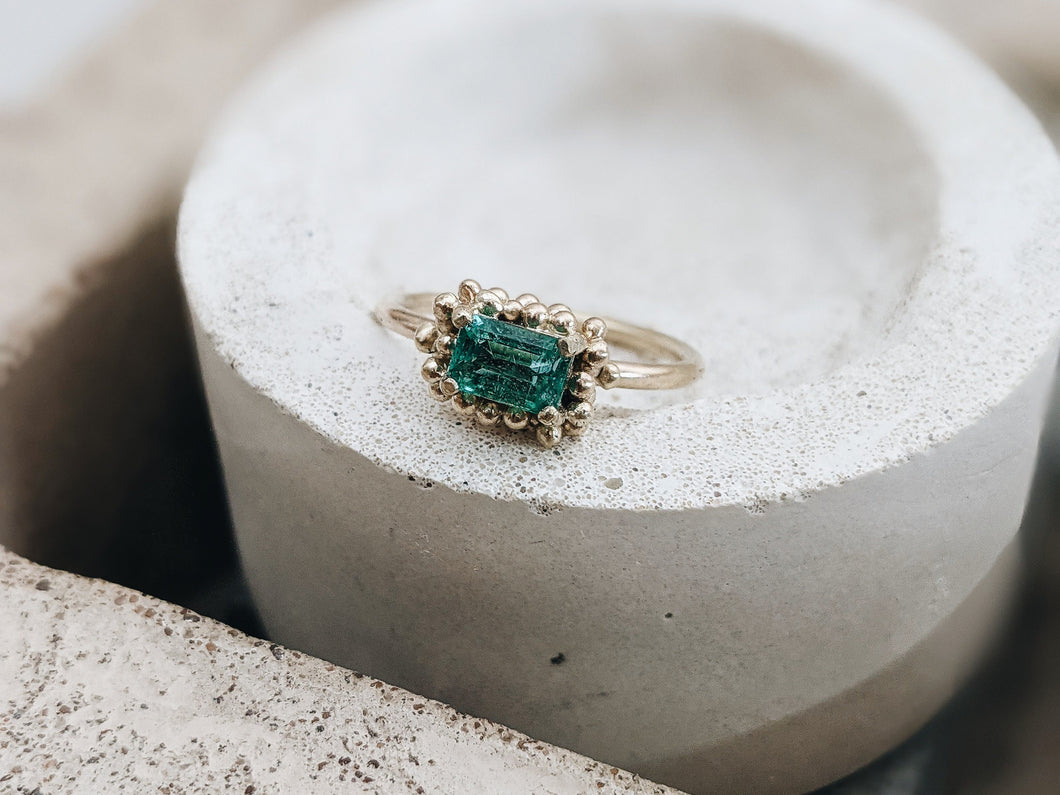 'One-of-a-kind' Emerald granulation Solitaire - Milly Maunder Designs