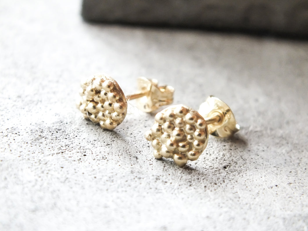 Mini bubble disc studs | Gold