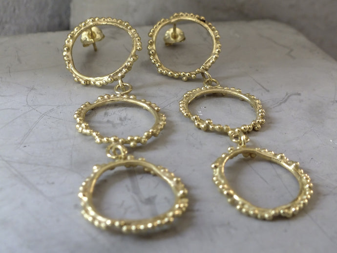 Triple Halo earrings | Gold