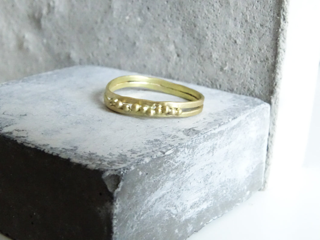 Beaded duo Forged Wedding Band