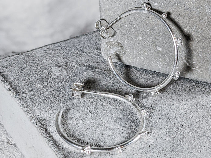 Medium Bubble hoops |  Sterling Silver