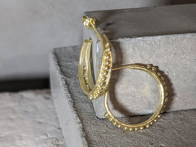 Forged Granulation Hoops | 18K Gold Plated