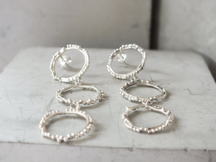 Triple Halo Studs | Sterling Silver - Milly Maunder Designs