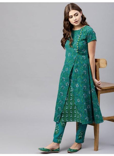 Adaa Green Floral Printed Double Layered A-Line Kurta