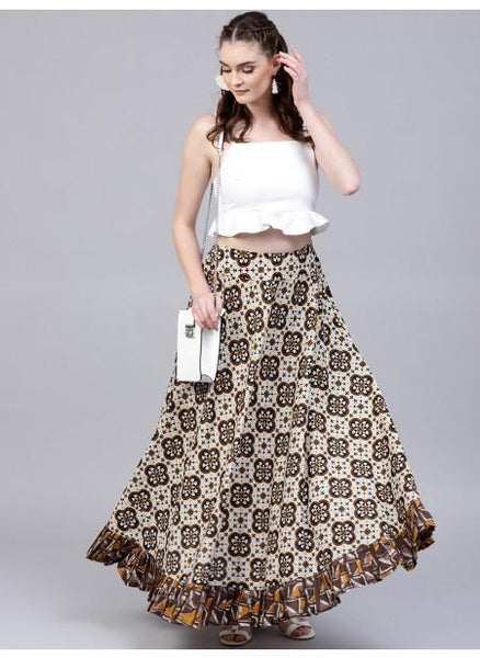 Adaa Brown & Beige Printed Skirt With Flared Hemline
