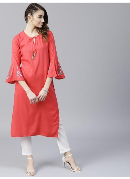Adaa Coral Solid Straight Kurta With Embroidery Sleeve Details