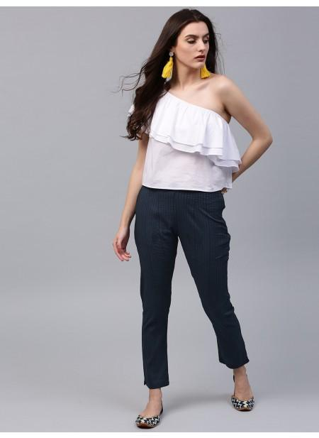 Adaa Navy Blue Solid Pintuck Pant