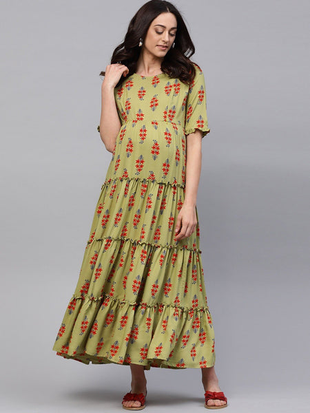 Adaa Green & Red Floral Printed Maternity Dress