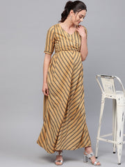 Adaa - Beige Striped Printed Tie-Up Maternity Dress
