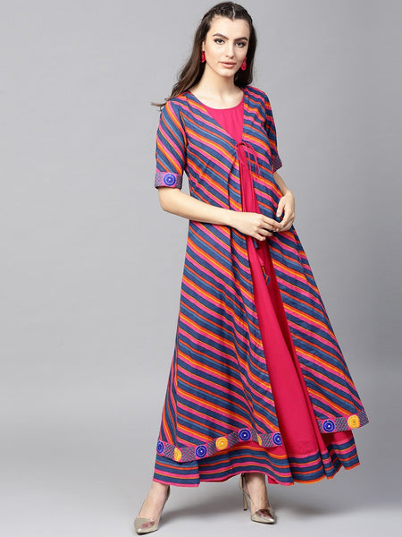 Adaa - Blue & Magenta Leheriya Printed double Layered Anarkali