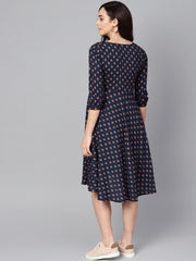 Adaa - Blue Printed A-Line Maternity Dress