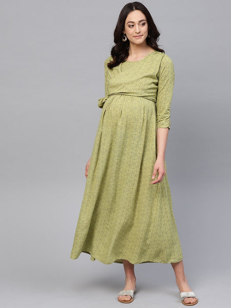 Adaa - Green Printed Tie-up Maternity Dress