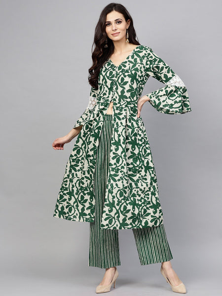 Adaa Green & White Floral Printed A-Line Kurta With Palazzo Set