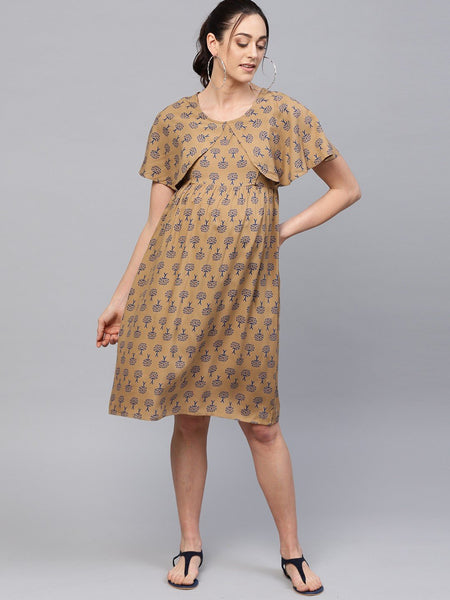Adaa - Khaki Printed A-Line Maternity Dress