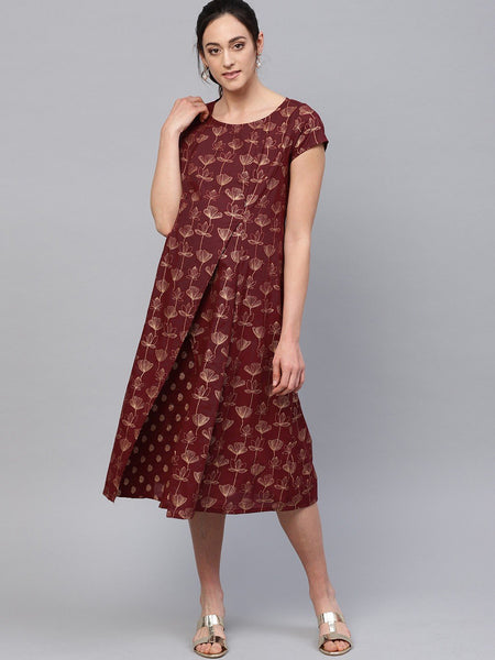 Adaa - Maroon Gold Printed A-Line Maternity Dress