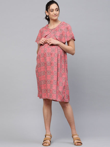 Adaa - Peach Printed A-Line Maternity Dress